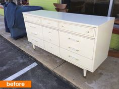 If you've ever come across a painted wood storage piece and wondered how you could restore it to the naturally beautiful look of wood and do something fresh and unique to it, you'll find inspiration in this credenza Martha got creative with.