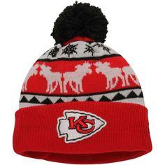 Mens Kansas City Chiefs New Era Red/Gold Mooser Cuffed Knit Beanie w/Pom
