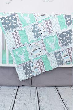 Woodland Crib Bedding Gray / Mint Nursery Hunting Quilt