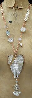mixed media jewelry...Cloth Paper Scissors Mixed Media Jewelry of 2012