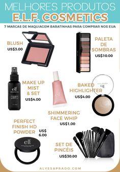 Descubra nesse post 7 marcas de maquiagem baratinhas para comprar nos Estados Unidos! Essa é a e.l.f., uma das mais baratas com produtos de ótima qualidade! Make Up Art, How To Make, Miami Orlando, Beauty Makeup, Hair Beauty, Canal E, Blushes, Makeup Collection, Eyeshadow