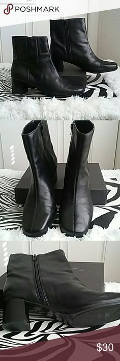 "Black Leather Ankle Boots Black Leather NINE WEST Ankle Boots. Lightly worn, No scuffs or tears. Heel height is 2"". This is a beautiful boot. Nine West Shoes Ankle Boots & Booties"