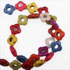 10Strands Colorful Flower Shape Loose Gemstones Turquoise Beads Fit Bracelets J