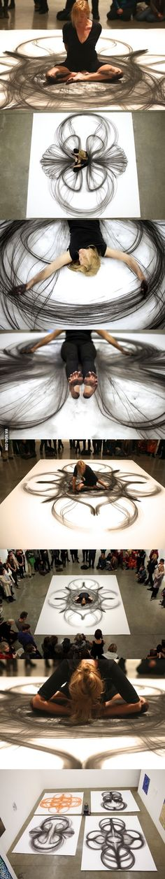 Artist makes life-size art using just her body and a piece of charcoal ...
