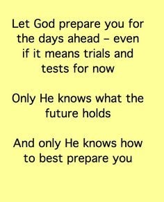 God's preparation