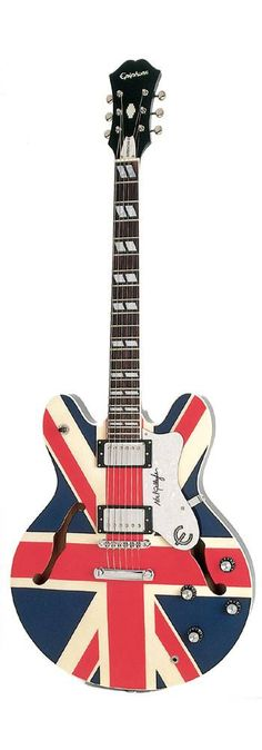 The Epiphone Supernova, manufactured in honor of Noel Gallagher's Union Jack-bedecked Sheraton. Affordable recreation of the most iconic instrument of Britpop. Mine is in the alternate Man City blue finish, which seems very clever at the moment.