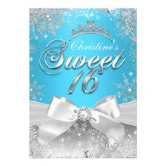 Princess Winter Wonderland Blue Sweet 16 Invitation. Shown in teal blue and silver white. Designed by Zizzago