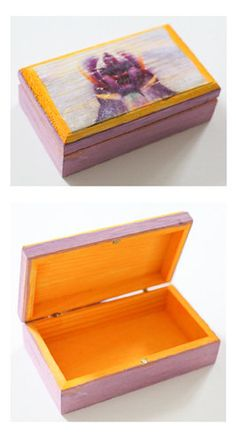 "#etsy #art Photo Transfer Wooden Jewlry Box Made to order - has a beachy worn out look - each is unique!  5"" x 3"" with magnetic close  https://www.etsy.com/listing/155535928/purple-orchid-photo-jewelry-box"