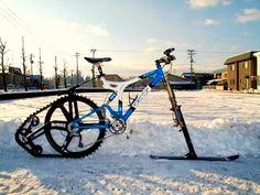 Think it's too snowy to ride your bike? The Ktrak Snowmobile Bike Kit is an extension for any standard bike that makes cruising winter wonderlands on two wheels possible. A rear … Lowrider, Mountain Biking, Winter Mountain, Pimp Your Bike, Meanwhile In Canada, Clever Inventions, Im An Engineer, Velo Vintage, Bike Kit