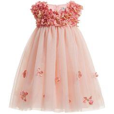 Lesy Pink Silk Dress with Flower & Pearl Decoration at Childrensalon.com