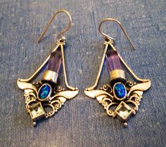 EARRINGS  - Color CHANGE - ALEXANDRITE - Lavender - Blue - Crystals - Angel wings - French Hook - Sterling Silver - 925 -Dangle earrings414 by MOONCHILD111 on Etsy