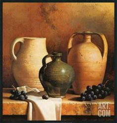 Tangletown Fine Art 'Earthenware with Grapes' by Loran Speck Graphic Art on Wrapped Canvas Still Life Drawing, Still Life Oil Painting, Still Life Art, Oil Painting On Canvas, Framed Art Prints, Fine Art Prints, Vase Vert, Still Life Photos, Still Life Photography