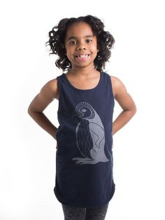 Girls Navy Penguin Tunic Top Size 8/9 yrs by KayaJacobClothing