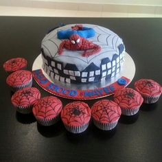 Spider-Man cake and cupcake