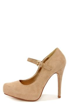 Perfect neutral....My Delicious Beta Light Taupe Suede Ankle Strap Platform Pumps at LuLus.com!