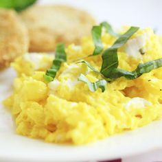 Creamy Scrambled Eggs with Goat Cheese and Basil - a quick and easy, but impressive, breakfast or brunch dish