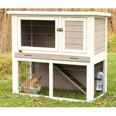 Trixie's Rabbit Hutch w/Sloped Roof - White