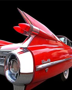 A red class American car - 1959 Cadillac Sedan De Ville with amazing tail fins looking dramatic on a black background Maserati, Bugatti, 1959 Cadillac, American Classic Cars, Old Classic Cars, Cadillac Eldorado, Vw Vintage, Best Car Insurance, Jaguar
