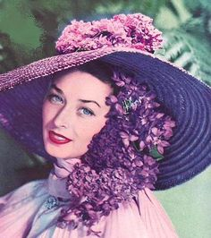 Purple hat with flowers