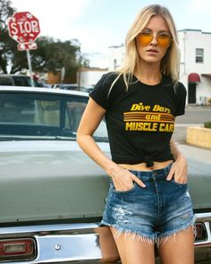 Badass babe @kaitright in our new Dive Bars and Muscle Cars tee ⚡️ online now http://www.shopelectricwest.com