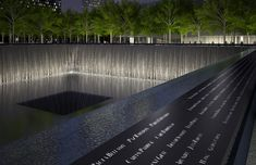 9/11 Memorial Waterfall and Engraved Names. See the Memorial Renderings here: http://www.911memorial.org/photo-albums/911-memorial-renderings