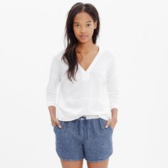 NWOT  Madewell Luster Cotton V Neck White, Large NWOT, never worn. Darling baseball hem. White, size large.  No snags, stains, or pilling. Madewell Tops Tees - Long Sleeve