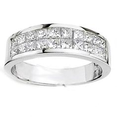 1.62 Ct. Men's Princess Cut Diamond Wedding Ring - Mens Diamond Wedding Rings