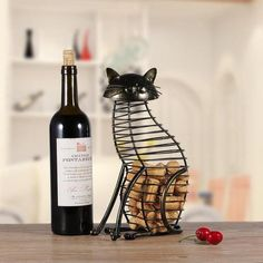 Tooarts Metal Cat Figurines Wine Cork Container Modern Style Iron Craft Gift Artificial Animal Mini Home Decoration Accessories Bar Accessories, Decorative Accessories, Container Bar, Wine Enthusiast Magazine, Wine Cork Holder, Cat Wine, Metal Containers, Wine Decor, Wine List