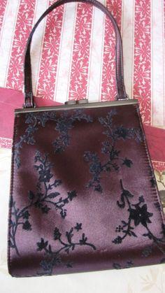 Designer Guess Handbag in Black Velvet Floral on Dark Purple Material. $20.00, via Etsy.