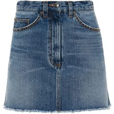 Marc by Marc Jacobs Denim Mini Skirt ($248) ❤ liked on Polyvore featuring skirts, mini skirts, bottoms, marc by marc jacobs, short blue skirt, button front denim skirt, button front skirt and short mini skirts