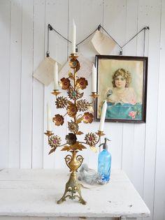 Vintage Kerzenständer - antiker 80cm Altarleuchter Kirchenleuchter Rosen - ein Designerstück von princessgreeneye bei DaWanda