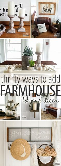 Want to add farmhouse style decor to your home, but lack a big budget? It's easier than you think. Come see at Prodigal Pieces decor styles Diy Home Decor Rustic, Country Farmhouse Decor, Farmhouse Style Decorating, Easy Home Decor, Home Decor Styles, Cheap Home Decor, Vintage Home Decor, Home Decor Accessories, Vintage Farmhouse