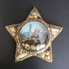 Antique Sailor's Valentine Sea Shell Star Wall Hanging Maritime Scene Litho NR