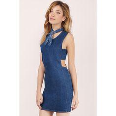 Tobi Alize Denim Bodycon Dress (£25) ❤ liked on Polyvore featuring dresses, dark wash, blue denim dress, body conscious dress, body con dress, side cut-out dresses and tobi dresses