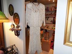 Judith Anne Pearl Silk Long Sleeve Beaded Floral Lace Evening Gown Size 12-14 #JudithAnne #BallGown #Formal