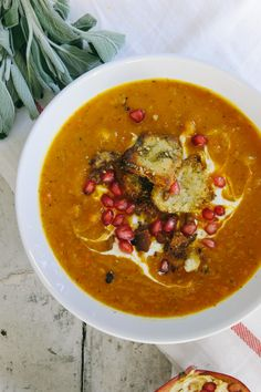 ROASTED BUTTERNUT SQUASH SOUP with ZA'ATAR CROUTONS  & POMEGRANATE ~~~ the croutons are made from pita bread [iwillnoteatoysters]