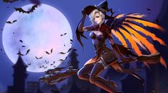 Mercy Witch Halloween Bats Moon Overwatch Wallpaper