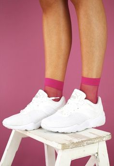 HOT PINK MESH SOCKS Mesh Socks, Socks And Sandals, Hot Pink, Womens Fashion, Sneakers, Clothes, Shoes, Style, Outfits