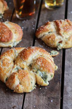 Spinach, Artichoke, and Bacon Stuffed Pretzels | 26 Soft Pretzel Recipes For National Pretzel Day