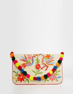 Image 1 ofMoyna Embroidered Jute Clutch With Pom Pom Trim