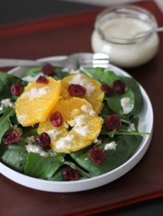 Fake Food Free: Arugula and Spinach Salad with Goat Cheese Orange Walnut Dressing