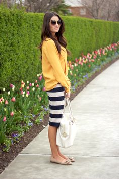 Stripes, Yellow and navy.