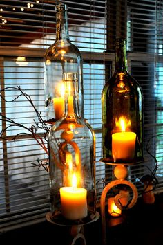 Suggestion: Use electric candles. After about 15 minutes with the candles lit, the bottles were as hot as firecrackers! Wine Bottle Corks, Wine Bottle Crafts, Bottles And Jars, Glass Bottles, Mason Jars, Diy Arts And Crafts, Fun Crafts, Wine Tasting Party, Home Deco