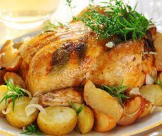 Pollo asado al limón con verduritas y manzana asada