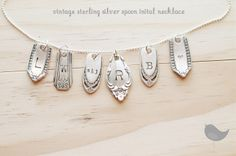 Vintage sterling silver spoon initial necklace