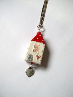 Pendant  My Love Llittle Clay House by VitezArtGlassDesign on Etsy, $10.00