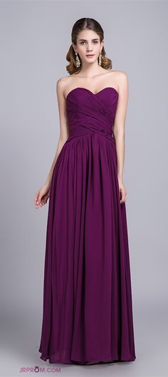 Affordable Bridesmaid Dresses/Prom Dresses A-Line Sweetheart Floor-Length Chiffon Grape Item Code:#JRP53NYCHB