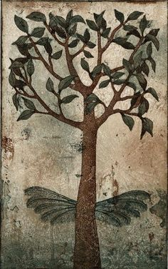 Piia Lehti: Puu, jolla on siivet / Tree with Wings, 2009 Fresco, Etching Prints, Dream Art, Green Trees, Fantastic Art, Old Art, Tree Of Life, Printmaking, Illustrators