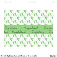 """Green Baby Footprints and Hearts 15"""" X 20"""" Tissue Paper"""