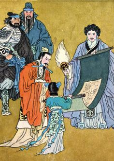 Conversation at Longzhong  Zhuge Liang stands on the right with his fan, while holding a map of China laying out his strategy. When Liu Bei (front left) sought Zhuge Liang's counsel on his third visit to the latter's thatched cottage, Zhuge was finally moved by Liu's sincerity and invited him to a conversation on stately affairs. – Prime Minister Zhuge Liang